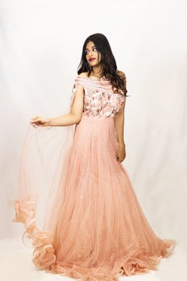 House Of Sitara Peach Off Shoulder Designer Gown with heavy embroidery online