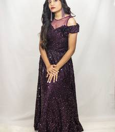 House Of Sitara Wine Sequin Net Gown Online