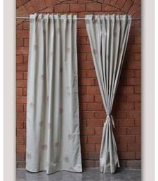 Block printed antique copper khadi print Cream Curtain