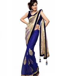 Buy Blue and beige Embroidered net saree with blouse net-saree online