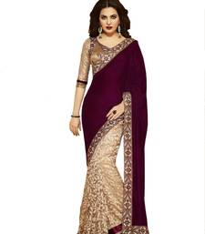 Buy Maroon and Beige Brasso Georgette saree with blouse georgette-saree online