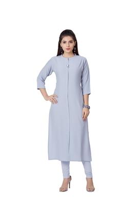women Grey Viscose rayon quarter Sleeves Kurti