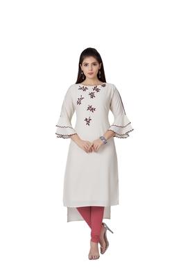 women Cream Imported Fabric Half Sleeves Kurti