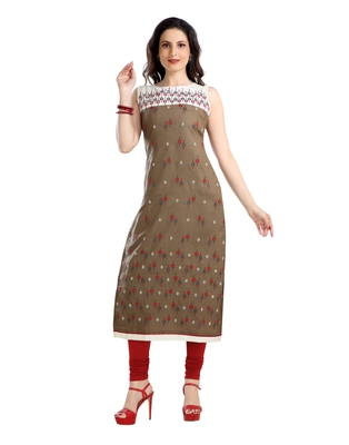 women Straight Embroidered Rayon Beige Kurti