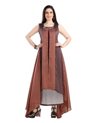 women Straight Embroidered Dupion Silk Brown Kurti