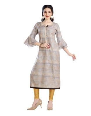 women Straight Embroidered Silk Beige Kurti