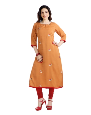 women Straight Embroidered Polyester Red Kurti