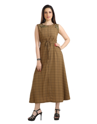 women Straight Embroidered Polyester Brown Kurti