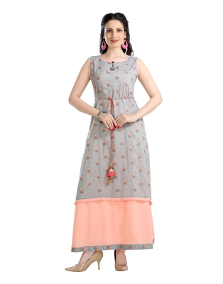 women Straight Embroidered Modal Red Kurti