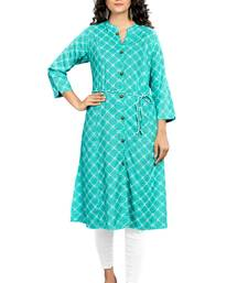 Sea-green printed rayon ethnic-kurtis