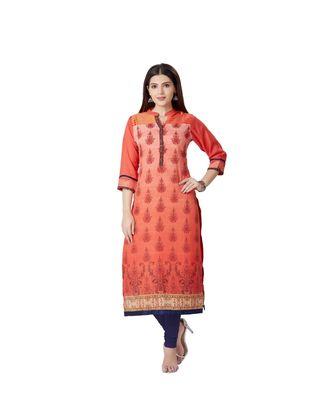 women Orange silk quarter Sleeves Kurti