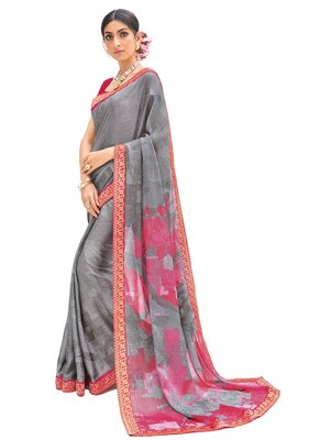 Grey Coloured Brasso Casual Wear Printed Sari With Unstitched Blouse