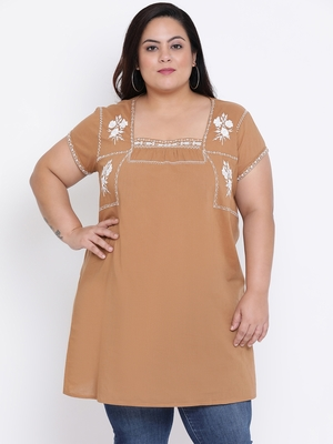 Camel Velvet Embro Plus Size Tunic