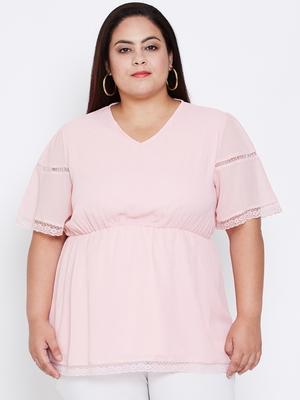 Chantelle Pink Lace Empire Plus Top