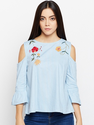 Whale Sky Sea Embroidered Top