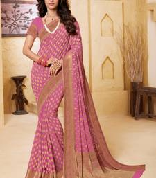 pink Georgette Self Design Saree For Party Wear