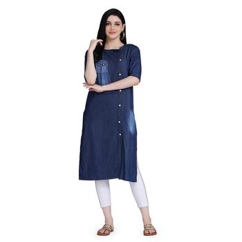 Blue woven cotton cotton-kurtis