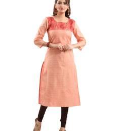 Pink plain polyester ethnic-kurtis