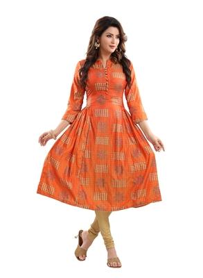 Orange printed polyester ethnic-kurtis