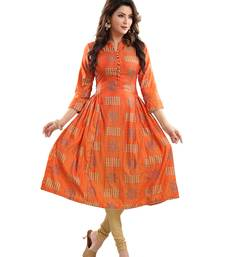 Orange printed polyester ethnic-kurtis
