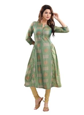 Green printed polyester ethnic-kurtis