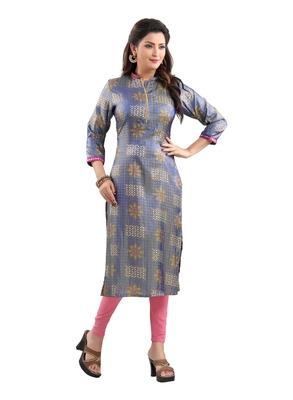 Blue printed polyester ethnic-kurtis