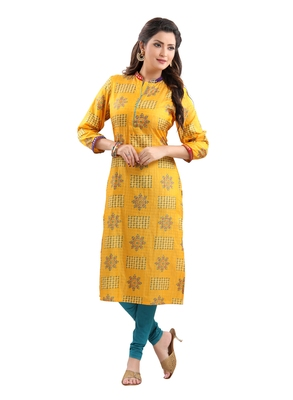 Yellow printed polyester ethnic-kurtis