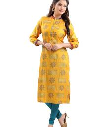 Yellow printed polyester ethnic-kurtis