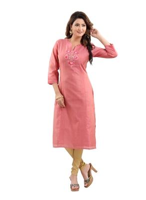 Peach plain polyester ethnic-kurtis