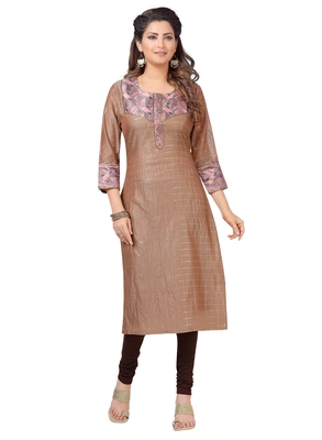 Brown printed polyester ethnic-kurtis
