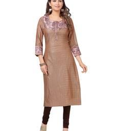 Brown printed polyester ethnic-kurtis