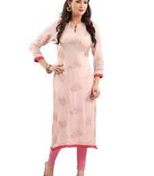 Pink embroidered viscose ethnic-kurtis