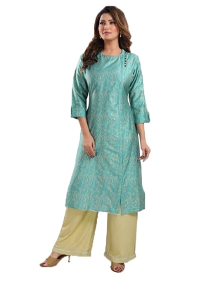 Blue printed viscose ethnic-kurtis