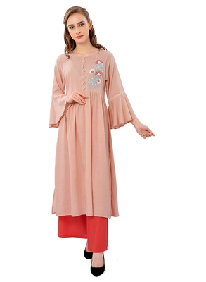 Peach plain cotton ethnic-kurtis