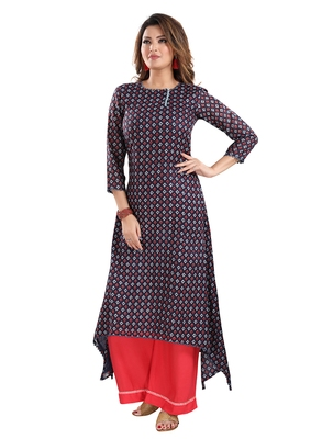 Navy-blue printed cotton ethnic-kurtis