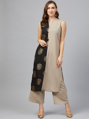 Light-grey printed crepe kurta set