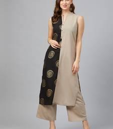 Light-grey printed crepe kurta set