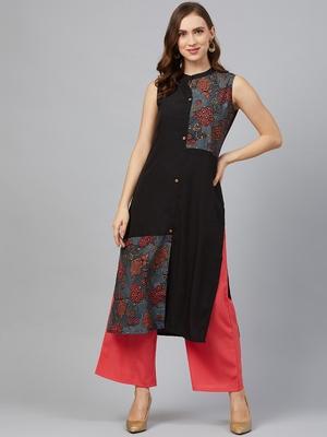 Black printed crepe kurta set