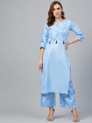 Sky-blue printed art silk kurta set