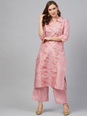 Pink printed art silk kurta set