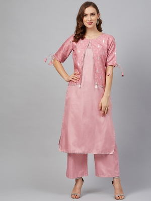 Pink printed art silk kurta set
