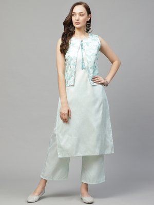 Green printed art silk kurta set