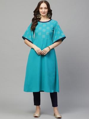 Teal-blue printed rayon kurta set