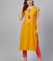 Mustard printed rayon kurta set