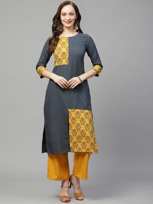 Grey printed rayon kurta set