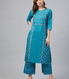 Blue printed art silk kurta set