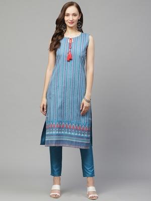Blue printed art silk kurta set