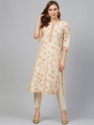 Cream printed art silk kurta set