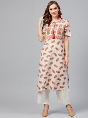 Cream printed rayon kurta set