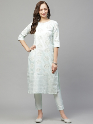 Green printed art silk kurta set